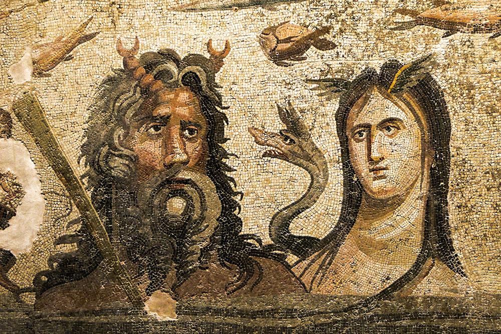 Mosaic of Oceanos and Tethys - 2nd-3rd Century - Zeugma Mosaic Museum - Gaziantep - Turkey. Image courtesy of Adam Jones.