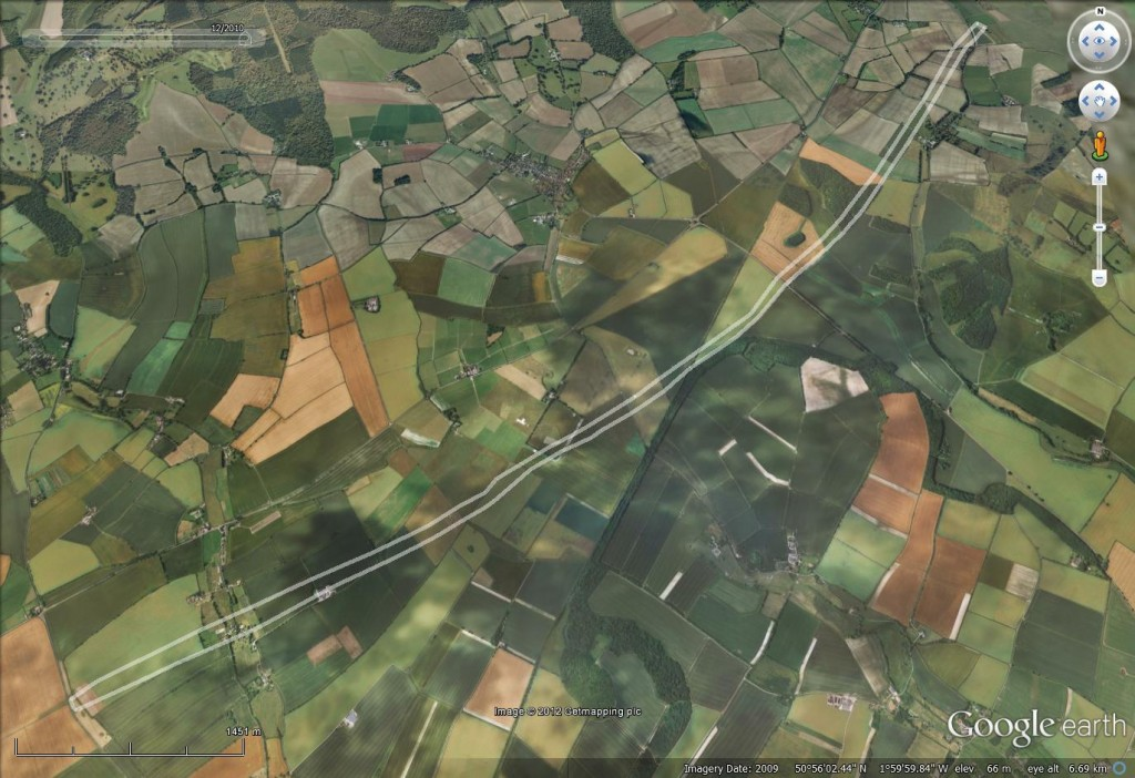 The Dorset Cursus - complete 10 km run. Image © Google and GetMapping.
