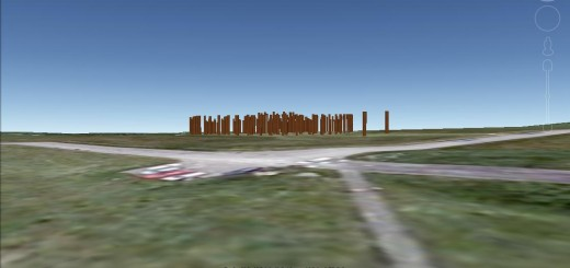 Woodhenge on the horizon.