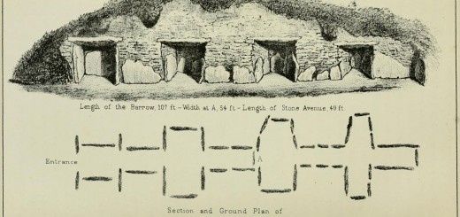 Section and Ground PLan of Stoney Littleton Long Barrow from the 1880-1881 Bristol and Gloucester Archaeological Society Proceedings.