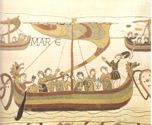 A Long Boat from the Bayeux Tapestry. (https://en.wikipedia.org/wiki/File:Tapisserie_bato1.jpg)